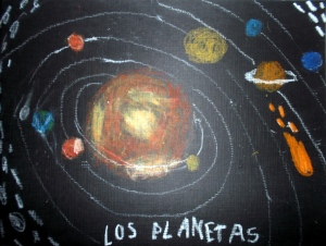 Dibujo de planetas con pasteles