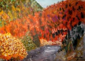Paisaje de otoño en acrílico