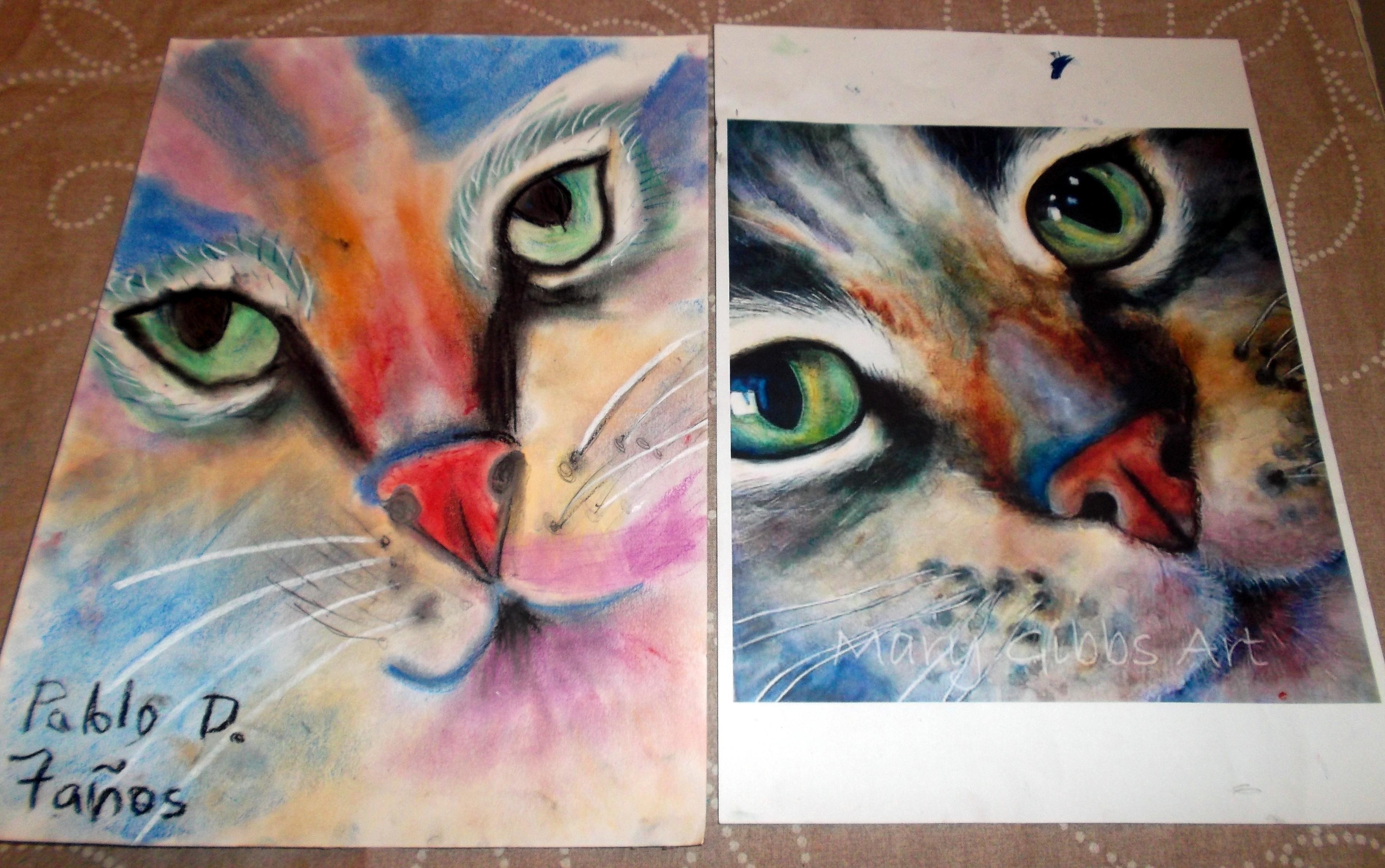 Gato al pastel pablo para la exposici n infantil - Dibujos de gatos pintados ...