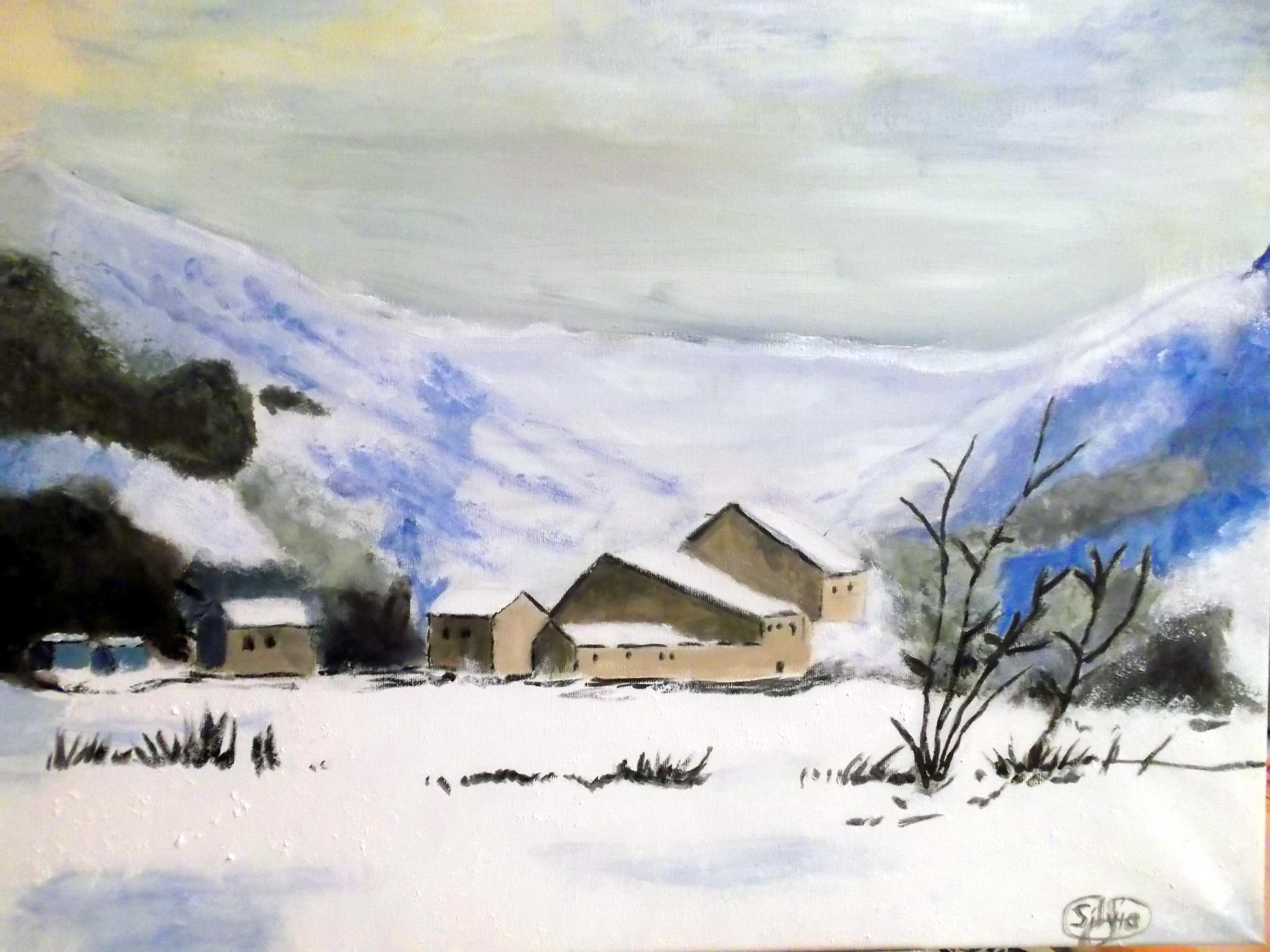 Paisajes nevados de mis peque as artistas mi taller de - Paisajes nevados para pintar ...