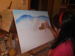 Cuadro paisaje nevado acrilico