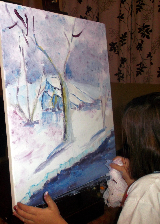 Paisajes nevados de mis peque as artistas vivimos el - Cuadros pintados con spray ...
