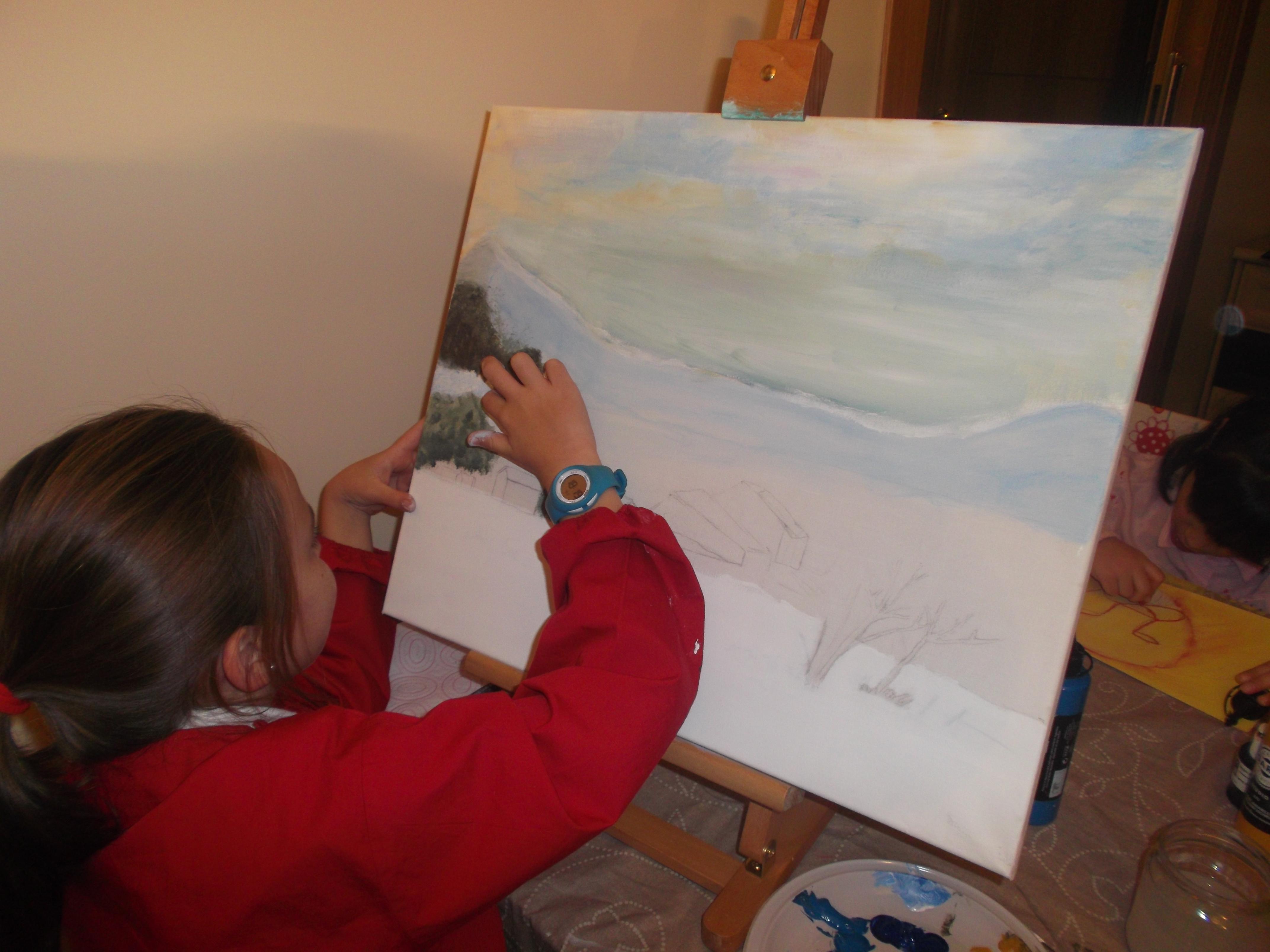 Paisajes nevados de mis peque as artistas mi taller de - Cuadros infantiles silvia munoz ...