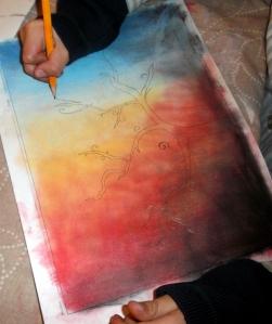almendro pintado con acrilico
