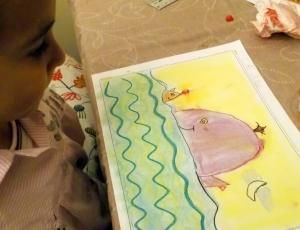 dibujo infantil al pastel