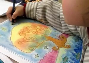 dibujo al pastel pintado por niños