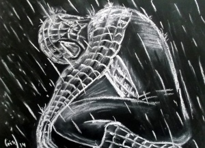 Spiderman en pastel blanco sobre cartulina negra