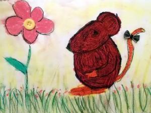 raton pintado en ceras y pastel