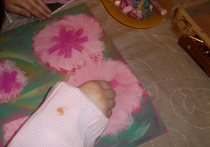 Cuadro de flores con pasteles