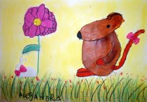 raton pintado con acrilico y pastel