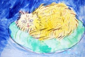 gatito en acuarela y ceras 3