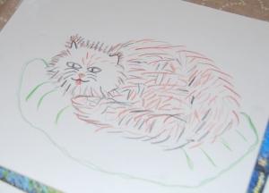 gatito en ceras y acuarela 1