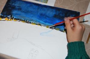 Van Gogh pintado por niños- Noche estrellada sobre el ródano 1