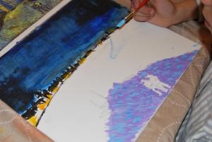 Van Gogh pintado por niños- Noche estrellada sobre el ródano 2