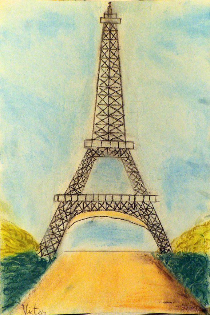 dibujo torre eiffel por niño