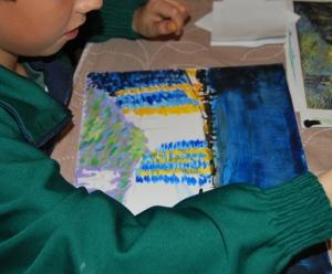 Van Gogh pintado por niños- Noche estrellada sobre el ródano 3