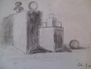 Dibujo a carboncillo por niños