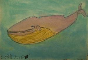 Dibujo de ballena con pastel por nilos