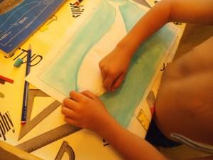Ballena pintada al pastel por niño