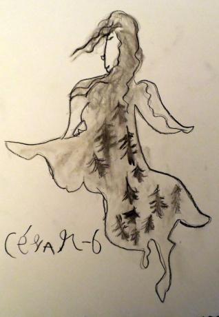 Hada pintada en carboncillo por niño