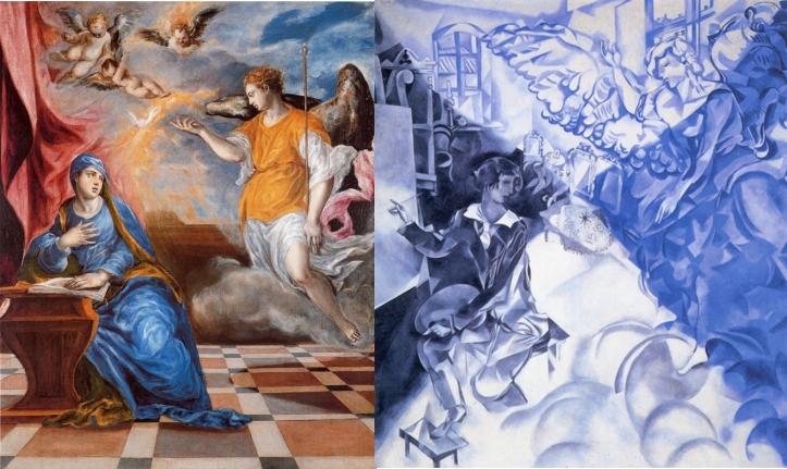 El Greco y la pintura moderna. La Anunciación (El Greco). Visión. Autorretrato con musa (Mark Chagal)