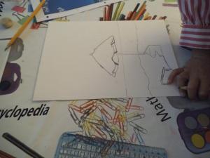 Paisaje marino en pastel pintado por niños 1