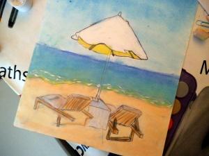 Paisaje marino en pastel pintado por niños 2