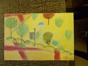 dibujo al aire libre con pasteles por niños0