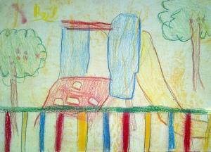 dibujo al aire libre con pasteles por niños2
