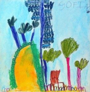 dibujo al aire libre con pasteles por niños5