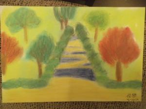 dibujo al aire libre con pasteles por niños7