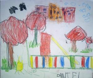 dibujo al aire libre con pasteles por niños9