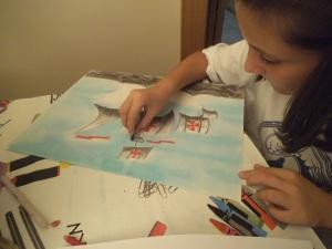 Dibujo carabela Cristobal Colon en pastel y carboncillo hecho por niña 10 años 3