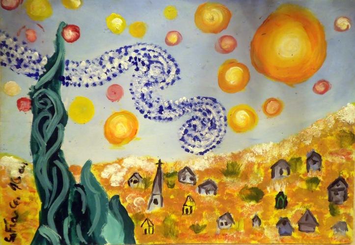 La noche estrellada hecha día - Oleo pintado por Sofia Soler de 10 años