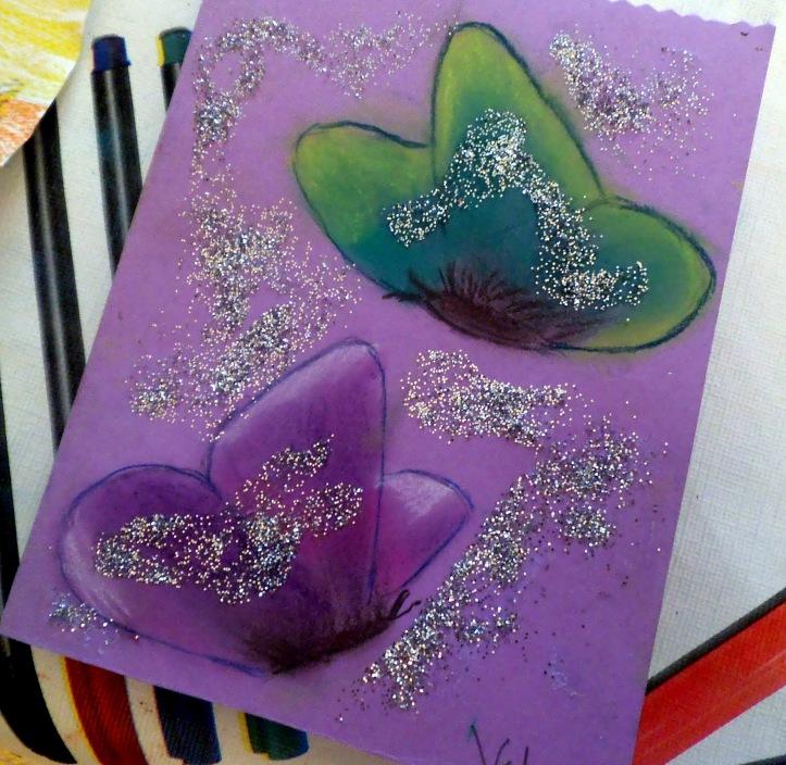 mariposas brillan con purpurina - Victor, 8 años