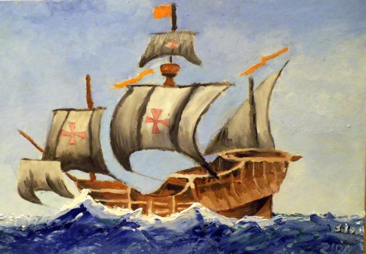 barco cristobal colon pintado al oleo por niña de diez años 1