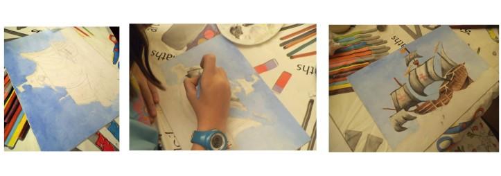 barco cristobal colon pintado al oleo por niña de diez años 2