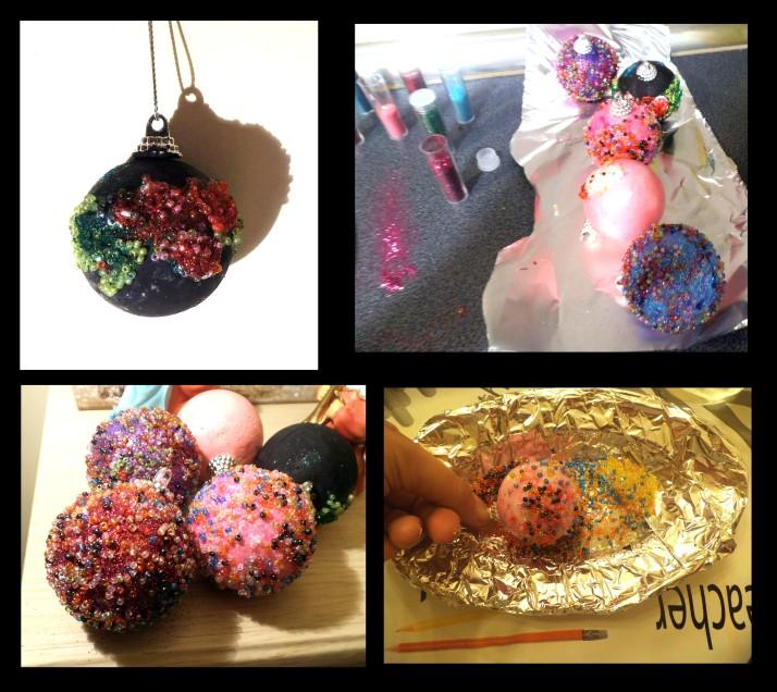 Como Hacer bolas de navidad de corcho con abalorios y purpurina