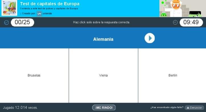 Juego interactivo para practicar las capitales de europa 1