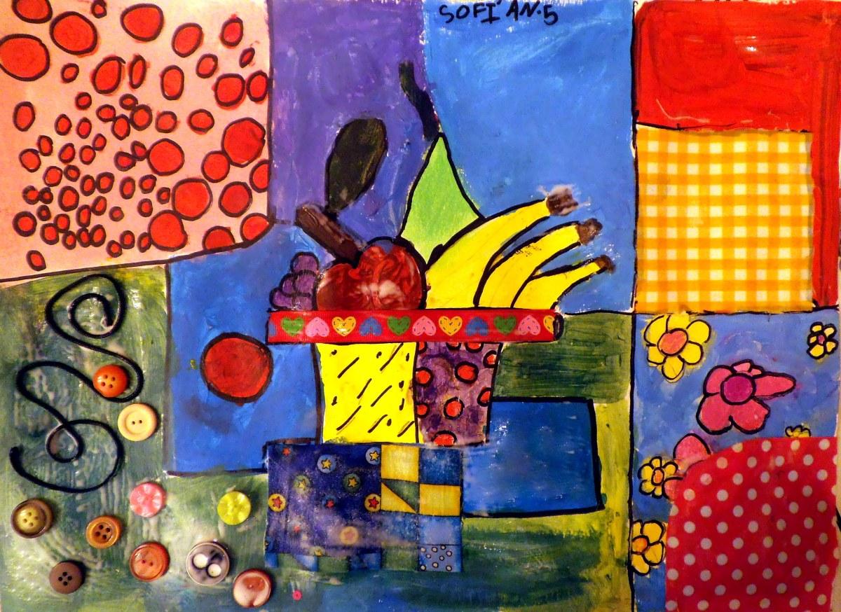 Bodeg n collage en acrilico telas cuerdas y botones - Telas con dibujos infantiles ...