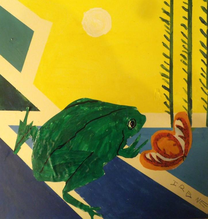 Collage de una rana realizado por niña en acrilico y tela