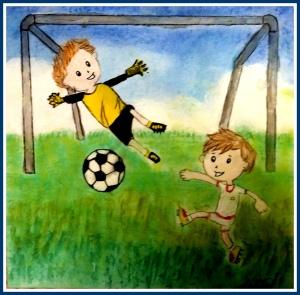 dibujo futbolista a pastel y acrilico hecho por niños