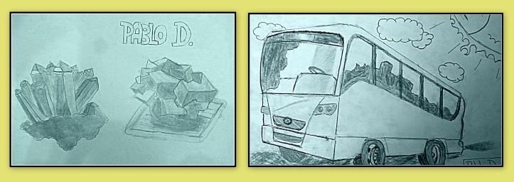Dibujos de minerales y vehiculos a carboncillo hechos por niños - Pablo, 8 años