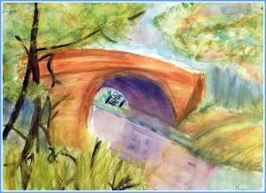 Paisajes de rio en acuarela - clases de pintura y dibujo para niños en torrejon de ardoz