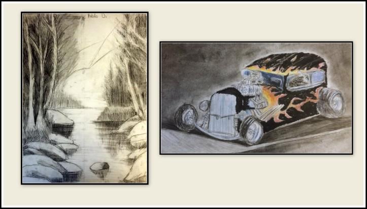 Cuadros de paisaje con rio y coche de epoca en carboncillo