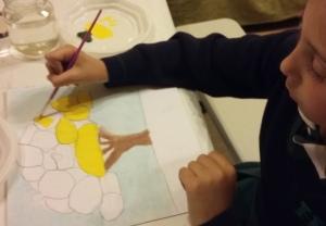 dibujo con acrilico y pasteles realizado por niña de 6 años