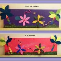 COLLAGE SOBRE LIENZO - ALEJANDRA Y SOFI NAVARRO, 7 y 6 años