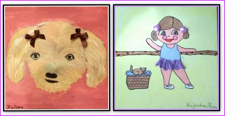 Dibujos de animales y otros en acrilico para niños