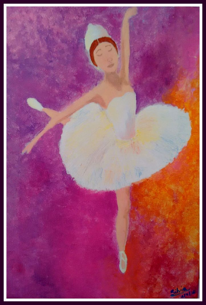 Cuadro de bailarina en acrilico pintado por niña