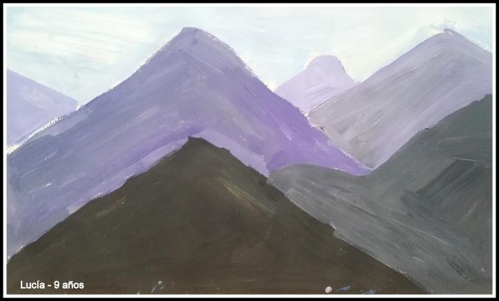 Cuadro de montañas tono malvas distancia y perspectiva
